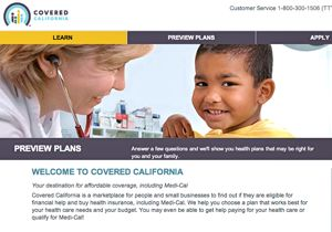 Covered California enrollment web page